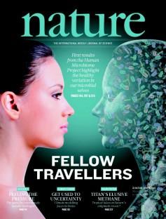 Mikrobiom. Vi bærer på og er sosiale med ti ganger flere bakterier enn våre kroppslige celler. (Foto: Faksimile Nature, 14. juni 2012.