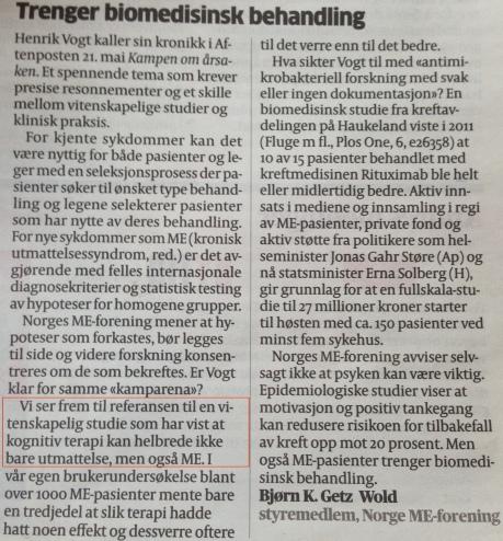 """Faksimile Aftenposten 27. mai 2014. """"Trenger biomedisinsk behandling"""", styremedlem i Norgen ME-forening, Bjørn K. Getz Wold."""