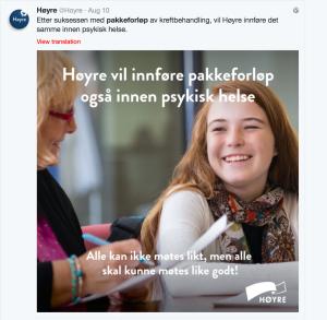 Høyres politiske reklame for pakkeforløp.